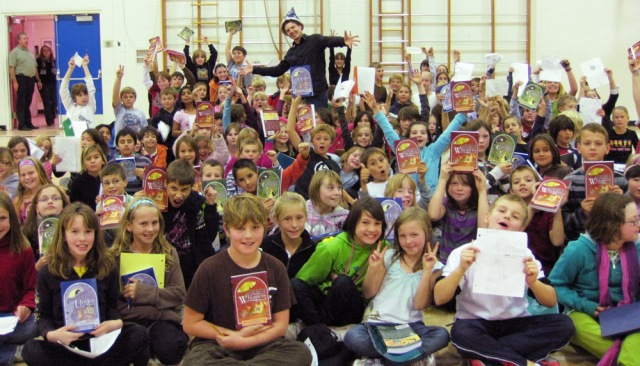 Lee Edward Fodi at a school in Summerland, B.C., as part of the Raise-a-Reader program.