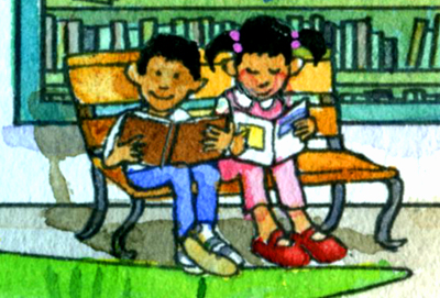 detail of a watercolour of two children reading on a bench in front of the library. Cartoon style