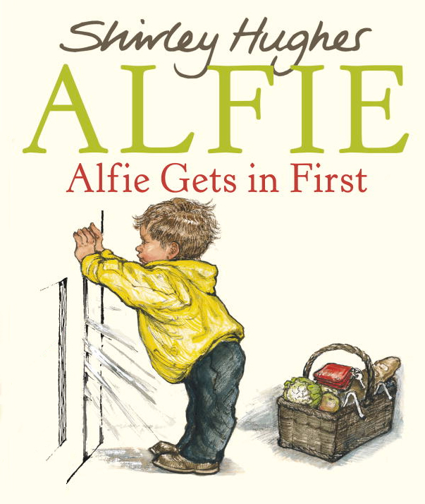 Shirley Hughes picturebook cover of Alfie Gets in First