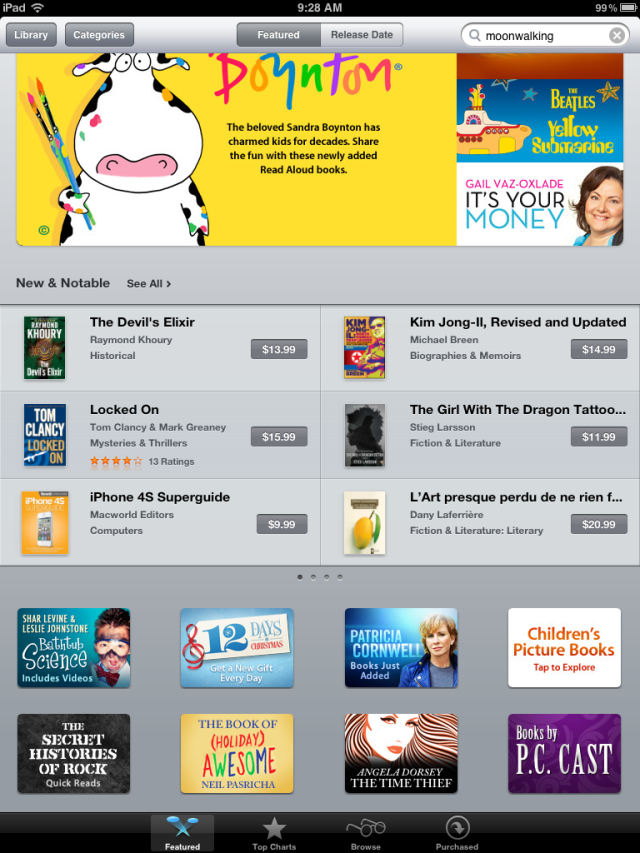 screenshot of itunes featured ebooks page