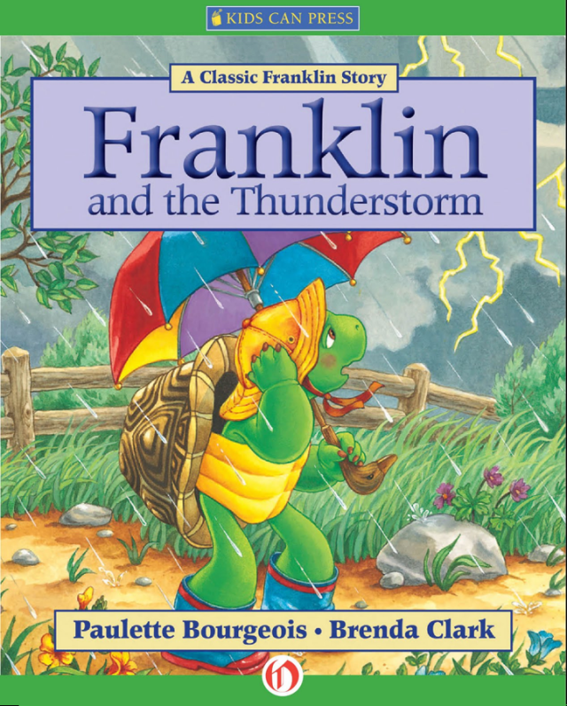 "book cover of ""Franklin and the Thunderstorm"", children's book featuring Franklin the turtle"