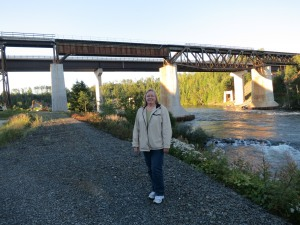 Karen Autio at Nipigon railway bridge for CWILL